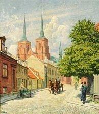 Paul Fischer Gadescene med Roskilde Domkirke i baggrunden. 59x51cm