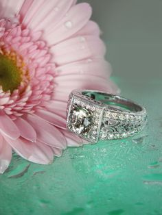 Stunning Rare champagne Colored Herkimer Diamond 14K White Gold Antique Style Filigree and Diamond Ring