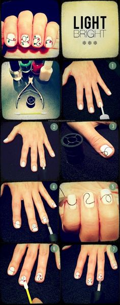 Creative DIY Nail Art Designs That Are Actually Easy to Do --> DIY Holiday light nail art