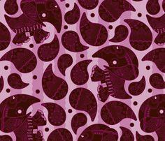 Elephant Paisley fabric by thirdhalfstudios on Spoonflower - custom fabric