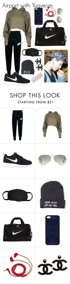 """Airport with Yugyeom"" by got7-bangtan-style ❤ liked on Polyvore featuring NIKE, Ray-Ban, Samantha Warren London and FOSSIL"