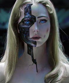 Ideas For Cyborg Concept Art Cyberpunk Arte Cyberpunk, Cyberpunk Girl, Cyberpunk Aesthetic, Robot Makeup, Makeup Art, Makeup Eyes, Character Inspiration Fantasy, Chica Cyborg, Cyborg Girl