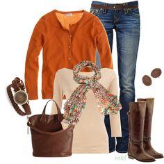 autumn-inspired: i love the orange caridgan, shirt & scarf, purse, watch, & boots! <3