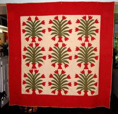 1860's applique quilt!! awwwesome for country Christmas decorating!!!