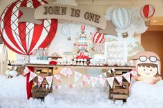 Sweet Table from a Rustic Hot Air Balloon Birthday Party via Kara's Party Ideas KarasPartyIdeas.com (15)