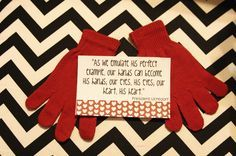 Love this cute Christmas gift with quote by President Uchtdorf. Add small hand sanitizer from Bath and Body Works in cellophane bag tied with ribbon.