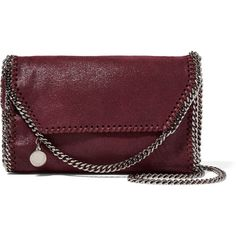 Stella McCartney The Falabella faux brushed-leather shoulder bag (4,505 CNY) ❤ liked on Polyvore featuring bags, handbags, shoulder bags, burgundy, leather handbags, red leather shoulder bag, leather purses, faux leather purses and crossbody shoulder bags