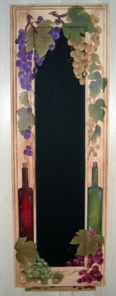 Chalk Board, Grapes and Wine Bottles. There is no link for info but am using the pic as inspiration.