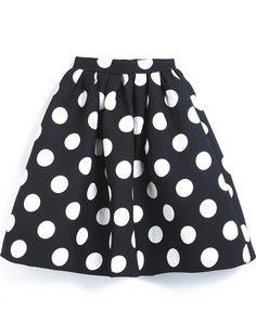 Black Polka Dot Flare Skirt -SheIn(Sheinside) Mobile Site