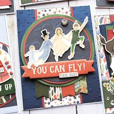 """Darling card set by Jana Eubank featuring the """"Lost in Neverland"""" collection by Disney Scrapbook, Scrapbook Layouts, Scrapbooking, Mini Photo Albums, Project Steps, Echo Park Paper, Cool Cards, Neverland, Homemade Cards"""