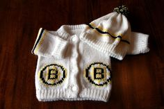Knitted Boston Bruins Baby Sweater by theknithappensshop on Etsy, $29.75