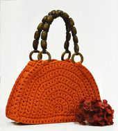 PAULA-laukku, oranssi / ruskeat kahvat | Tuulia design. Iloa & Ideaa askarteluun ja käsitöihin!