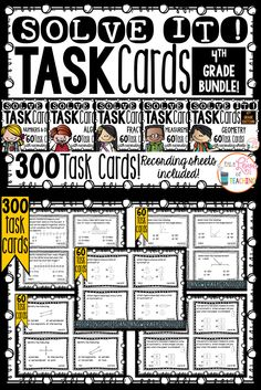 300 Task Cards for 4th Grade Common Core - ALL 5 Domains (Bundle)