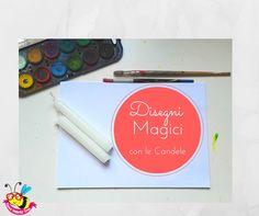 #draw #candle #magic #watercolor #kids #paint come disegnare con le candele di paraffina delle scritte invisibili che poi compaiono magicamente dopo aver colorato il foglio con gli acquerelli