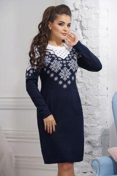 Трикотажное модное платье с карманами
