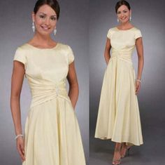 New 2015 Custom Made Light Yellow Mother of the Bride Dresses Short Sleeves Mid Calf Tea length Ruched Lady Party Mother Of The Groom Gowns