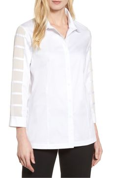 Ming Wang Tiered Sleeve Shirt In White Tiered Tops, White Tops, White White, Cut Shirts, Shirt Sleeves, Collars, Nordstrom, Tunic Tops, Style Inspiration