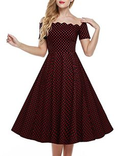 Fanala Womens Classy Audrey Hepburn 1950s Vintage Rockabilly Swing Dress * Read more reviews of the product by visiting the link on the image.