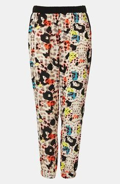 Topshop Colored Leopard Print Jogging Pants | Nordstrom | Printed Pant -pair with black/orange/or neon top... pull together in fall with leather jacket or blazer.