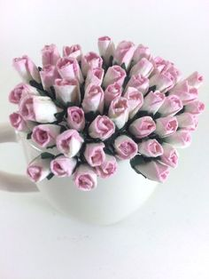 25 Mini Pink White Roses Bud Mulberry Paper Flowers Wedding Card Scrapbook  #Handmade