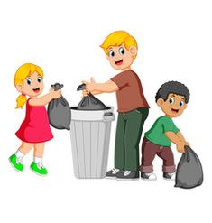 Father and his kids to throw away garbage Vector Image Art Drawings For Kids, Drawing For Kids, Murals For Kids, Art For Kids, Clean India Posters, Teaching Kids, Kids Learning, Animals Name In English, Picture Composition