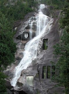 Not a tree house, rather a waterfall house Amazing Architecture, Architecture Design, Classical Architecture, Pavilion Architecture, Sustainable Architecture, Waterfall House, Waterfall Wedding, Waterfall Shower, Waterfall Design