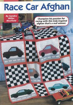 Race Car Afghan Crochet Pattern - Checkered Flags and Cars