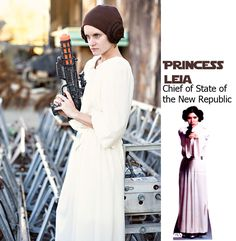 princess leia costume - yarn buns, outfit made from thrift store nightgown