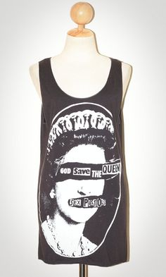 Sex Pistols God Save The Queen Charcoal Black Singlet Tank Top Sleeveless Indie Punk Rock T-Shirt Size S