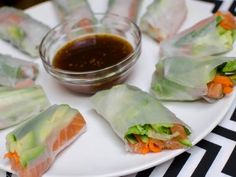 Spring Rolls with Salmon A little cool perk with this meal is that it's filling and super healthy.