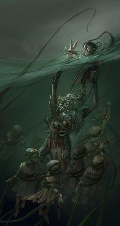 Fantasy art monster art, creepy art y fantasy art. Dark Fantasy Art, Fantasy Kunst, Fantasy Artwork, Monster Concept Art, Fantasy Monster, Monster Art, Dark Creatures, Mythical Creatures, Arte Horror