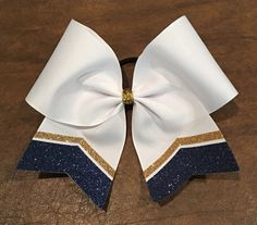 Practice Cheer Bow  Navy Blue and Gold Chevron YOU by FullBidBows