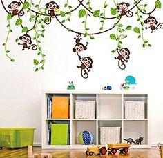 ufengke® Cute Monkeys Rampicanti Albero Adesivi Murali, Camera dei Bambini Vivai Adesivi da Parete Removibili/Stickers Murali/Decorazione Murale, http://www.amazon.it/dp/B012VTGEUW/ref=cm_sw_r_pi_awdl_x_Z8u0xbAS2H4J0