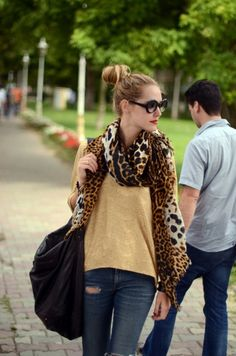A leopard scarf is an easy way to add style to even the most basic jeans and tee