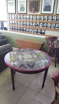 Beer bottle cap table for my firehouse (#QuickCrafter)