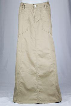 Cozy Khaki Long Skirt