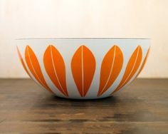 9.5 Cathrineholm Norway Orange & White by WillowSophiaAntiques