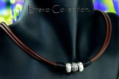 2N-023 Solid Sterling Silver,Red Tigers Eye & Leather new Choker Men Necklace.
