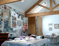 Shelley Rhodes - in studio 2 Making Space, Collage, Textile Artists, Rhodes, Mixed Media Art, Textiles, Stitch 2, Inspiration, Studios