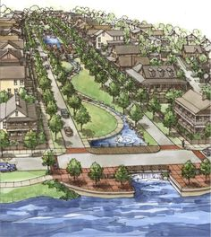 Zoo Architecture, Landscape Architecture Drawing, Architecture Concept Drawings, Landscape Design Plans, Landscape Concept, Futuristic Architecture, Urban Landscape, Site Plan Design, Urban Design Plan