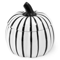 Enliven your home this fall with the striking, functional touch of the Boston International Pumpkin Covered Candy Bowl. Black and white pumpkin shaped bowl features a removable lid and holds up to 2 cups of your favorite candies or cookies. Halloween Candy Bowl, Halloween Dishes, Halloween Kitchen, Halloween Candles, Halloween Ideas, Halloween Wine Bottles, Pumpkin Dishes, Halloween Entertaining, Black Pumpkin
