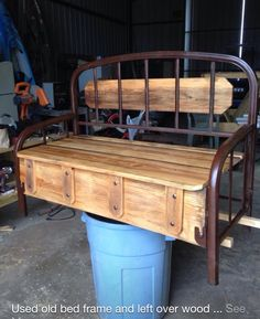 Clever use of an old bed frame and a little lumber. Refurbished Furniture, Repurposed Furniture, Rustic Furniture, Furniture Makeover, Cool Furniture, Bed Frame Bench, Headboard Benches, Old Bed Frames, Old Beds