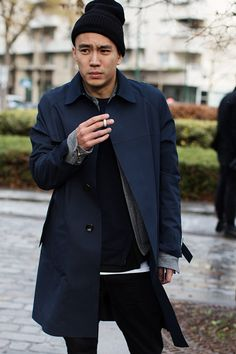 On The Street Men at shows jacket coat tumblr beanie Style