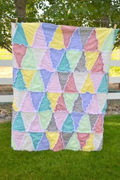 Rag Quilt, Triangles, Muted Pastel Baby Blanket, Crib Size Quilt READY TO SHIP