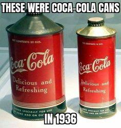Latas cone top Coca-Cola 1936 - Coca Cola - Idea of Coca Cola Coca Cola Decor, Coca Cola Can, World Of Coca Cola, Always Coca Cola, Coca Cola Bottles, Coke Cans, Pepsi Cola, Old Bottles, Coca Cola History