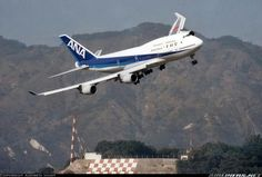 ANA B744 landing at old Kai Tak airport..