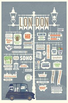 London illustration by Jin datz; plan on finding out what all those typefaces are hahh City Poster, Vintage Travel, London Poster, London Sign, Iphone Wallpaper London, London Neighborhoods, Map Design, Poster Design, Vector Design