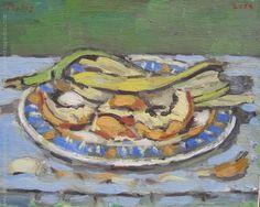 """Hector Perlas """"Plato con cáscaras"""" Óleo sobre tela  24 x 29 cm. Año 2014  Firmado arriba a la izquierda  http://www.portondesanpedro.com/ver-producto.php?id=12461"""