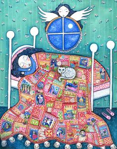 "Girls room art angel patchwork quilt cat sleeping girl nursery wall decor whimsical folk art childrens picture fairy tale art - ""Heirloom"""