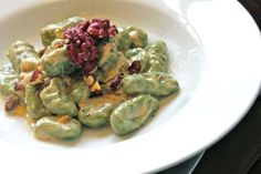 Spinach Ricotta Gnocchi with Gorgonzola and Red Walnut Cream Sauce